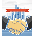 Two men shake hands presentation template vector
