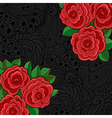Black background with red roses and leaves vector