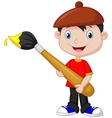Little boy cartoon is painting with paintbrush vector
