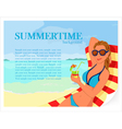 Summer background with girl and cocktail vector