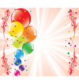 Festive balloons and light-burst vector
