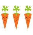 Beautiful cartoon carrots set isolated on white vector