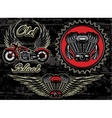 Set of retro emblems on the motorcycle theme vector