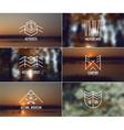 Set of retro vintage badges and blurred background vector