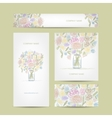 Business cards collection floral bouquet design vector