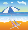 Umbrella with chair on the beach vector