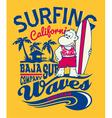 Baja california monkey surfing vector