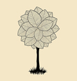 Floral tree silhouette vector