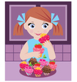 Little girl in kitchen with cupcakes vector