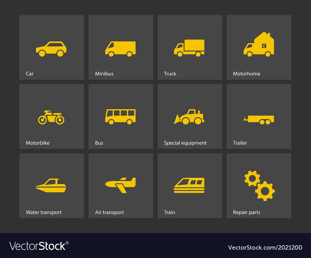 Cars and transport icons vector | Price: 1 Credit (USD $1)