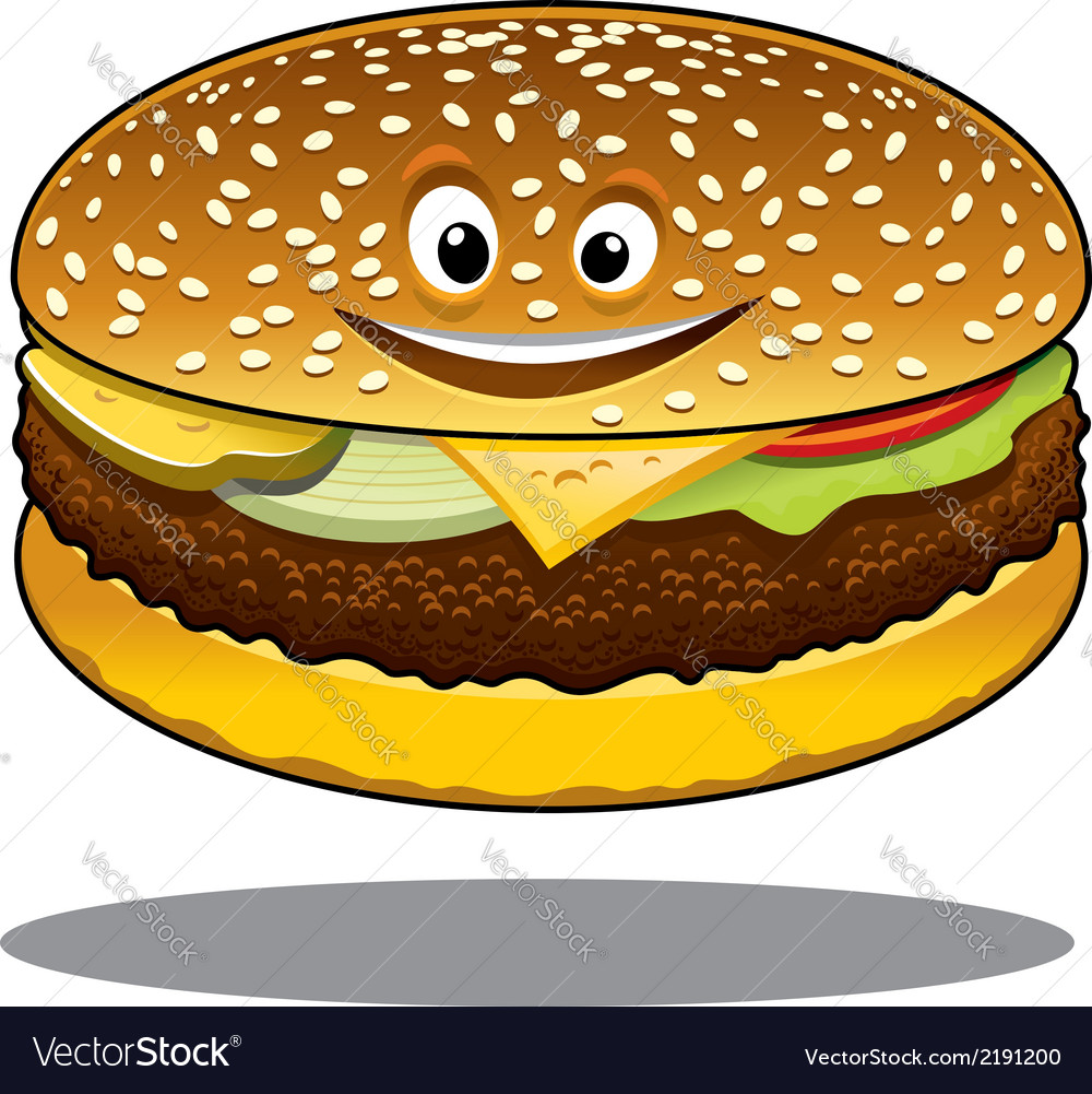 Cartoon cheeseburger with a happy smile vector | Price: 1 Credit (USD $1)