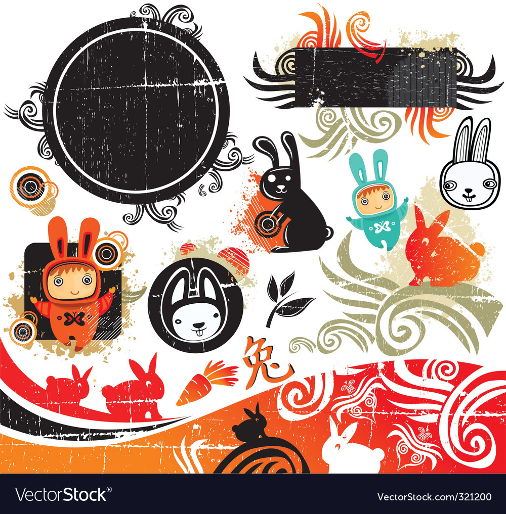 Cartoon rabbits vector | Price: 3 Credit (USD $3)