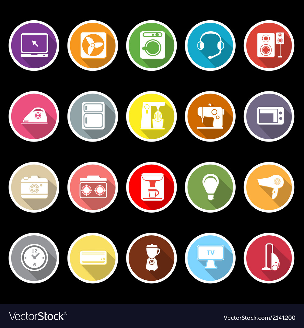 Electrical machine icons with long shadow vector | Price: 1 Credit (USD $1)
