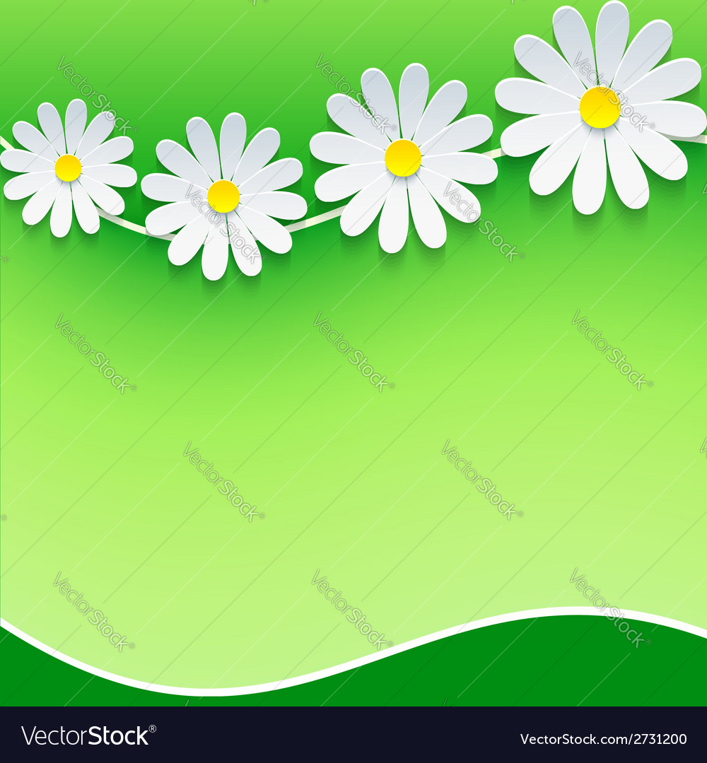 Floral frame background with 3d chamomile vector | Price: 1 Credit (USD $1)