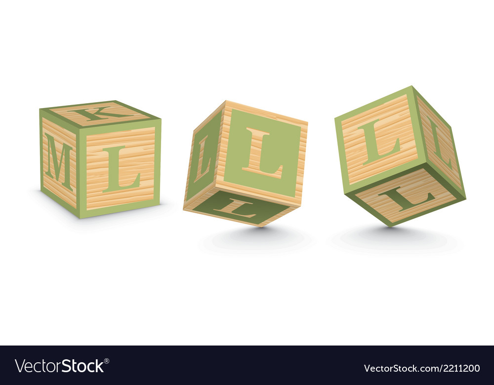 Letter l wooden alphabet blocks vector | Price: 1 Credit (USD $1)