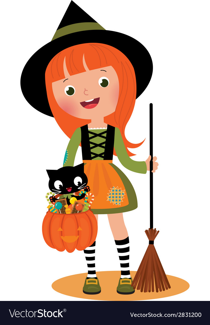 Little witch and her cat on halloween vector | Price: 1 Credit (USD $1)