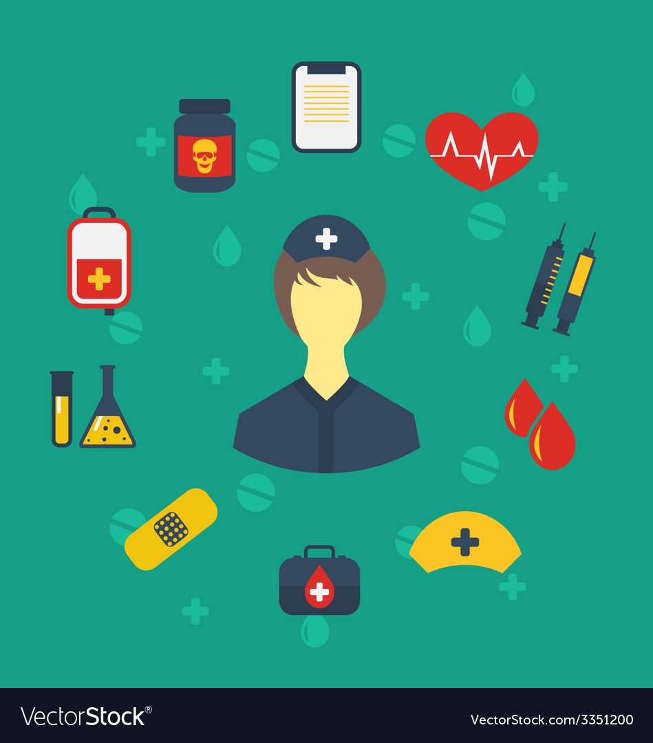 Nurse with medical icons for web design modern vector | Price: 1 Credit (USD $1)