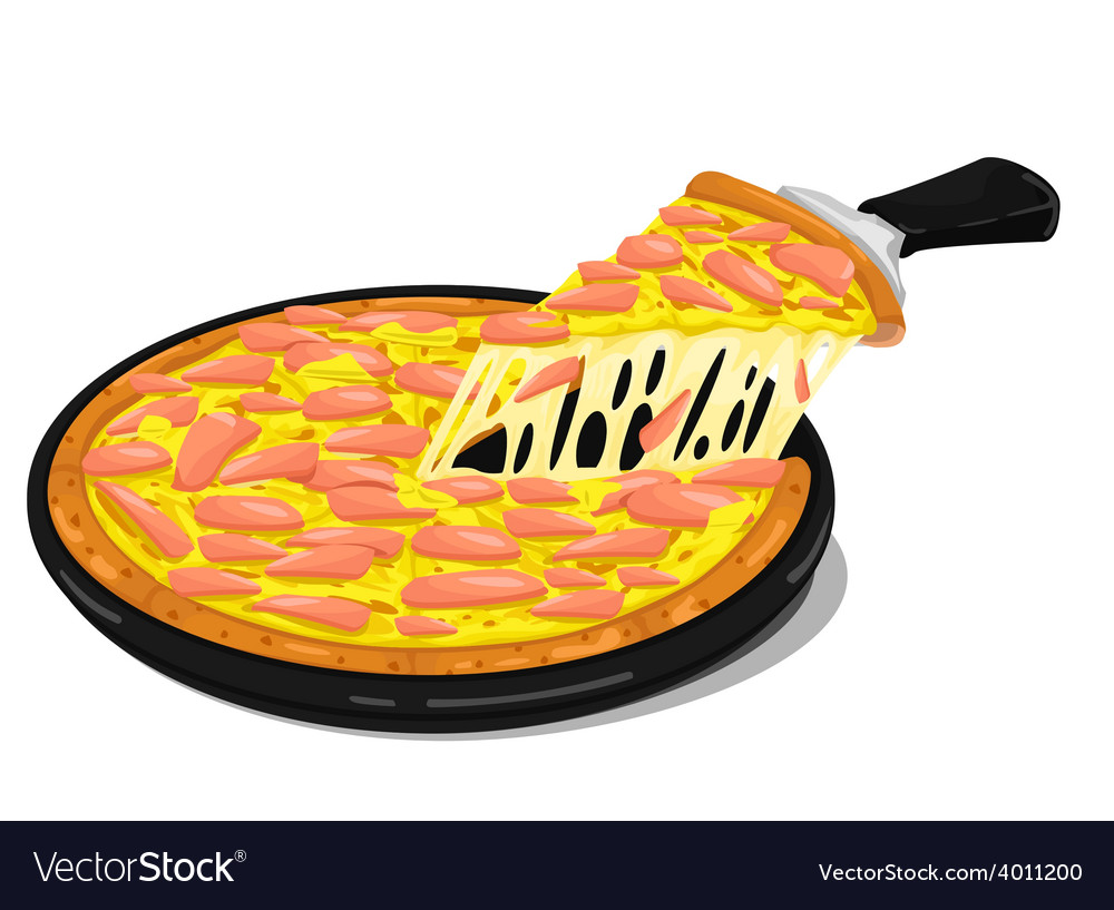 Pizza ham slices vector | Price: 1 Credit (USD $1)