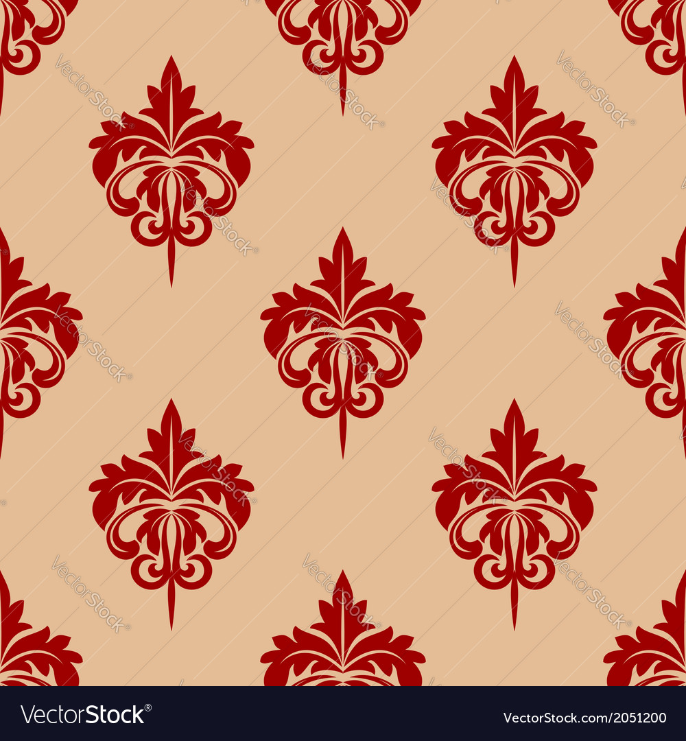 Red foliate seamless arabesque pattern vector | Price: 1 Credit (USD $1)