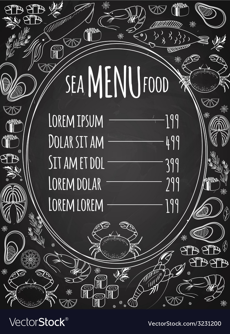 Seafood chalkboard menu template vector | Price: 1 Credit (USD $1)