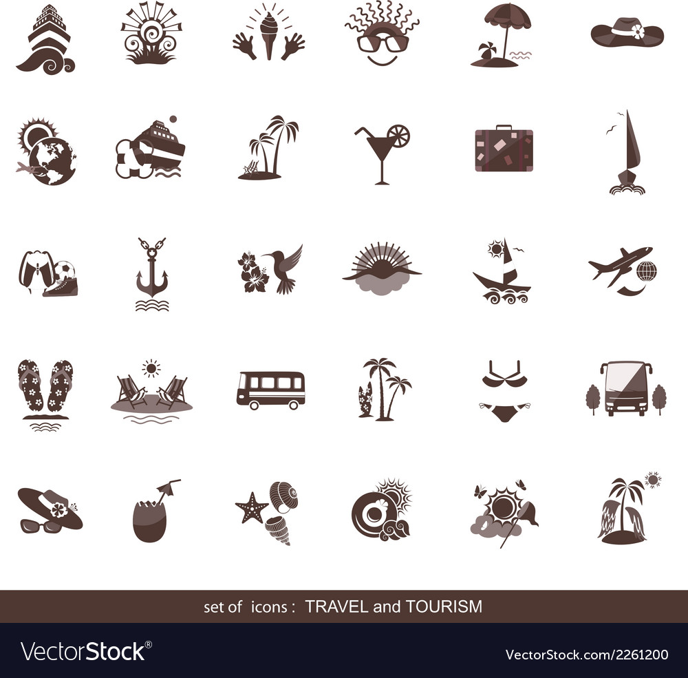 Set of modern flat travel icons vector | Price: 1 Credit (USD $1)