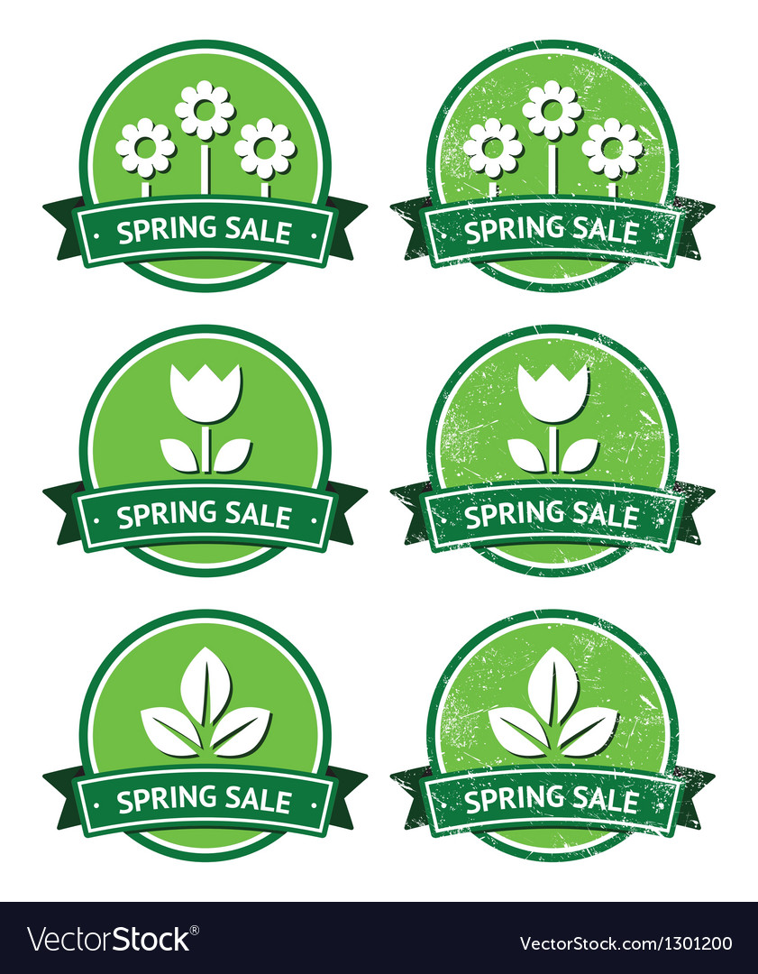 Spring sale retro green round labels - grunge vector | Price: 1 Credit (USD $1)