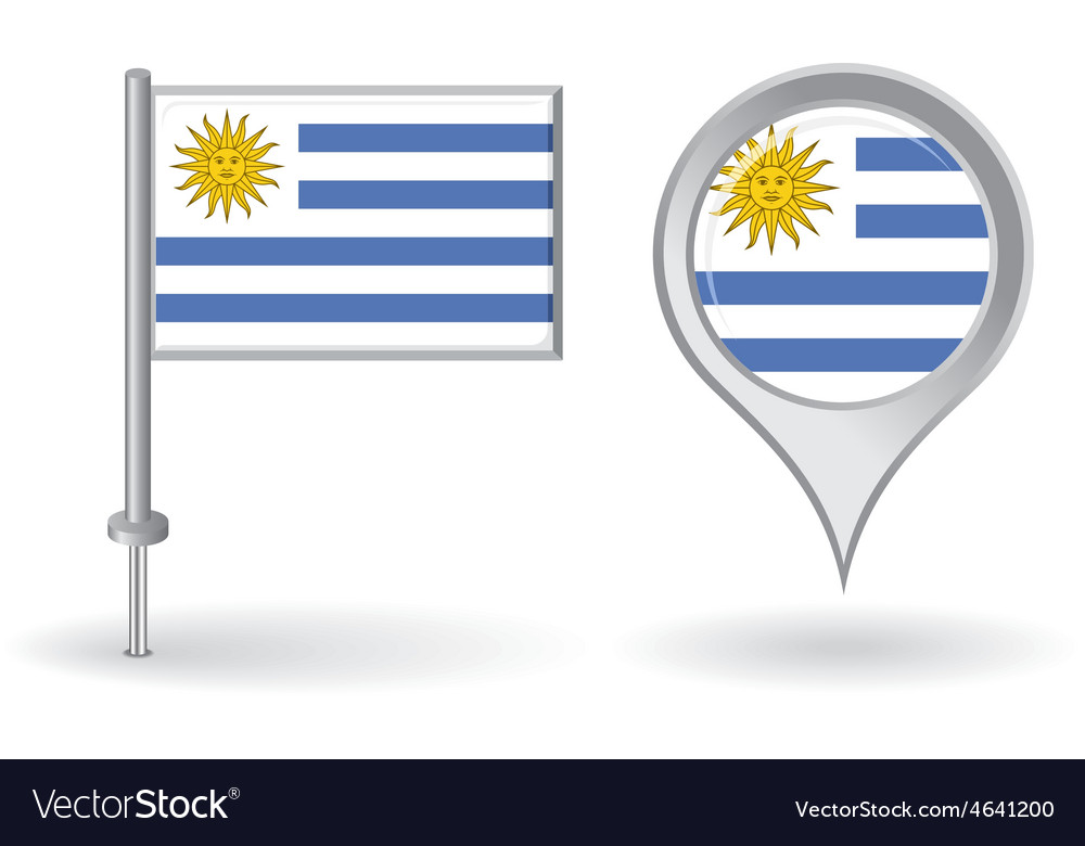 Uruguayan pin icon and map pointer flag vector | Price: 1 Credit (USD $1)