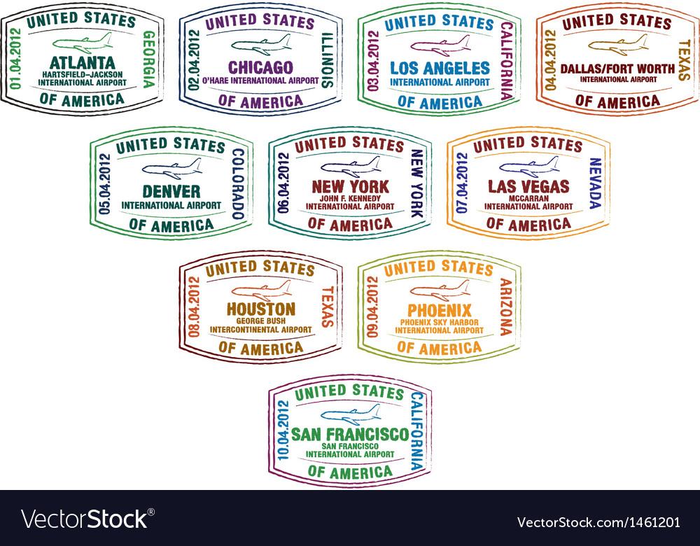 American cities passport stamps vector | Price: 1 Credit (USD $1)