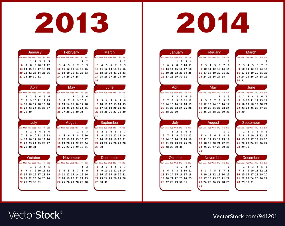 Calendar 2013 2014 vector | Price: 1 Credit (USD $1)