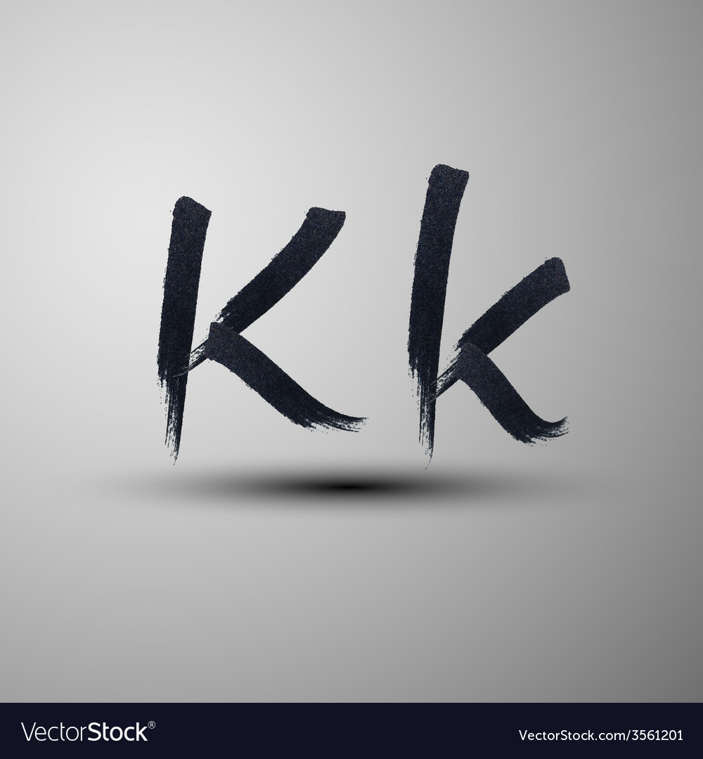 Calligraphic hand-drawn marker or ink letter k vector | Price: 1 Credit (USD $1)