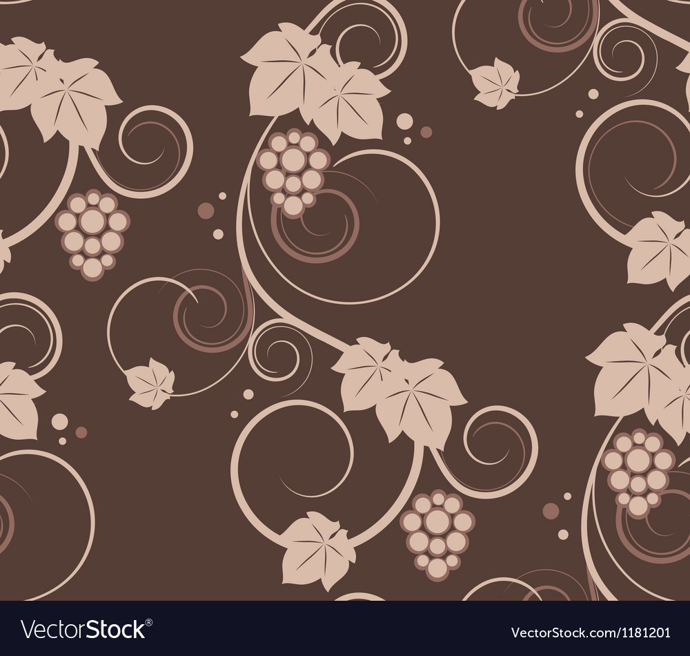 Grape vines seamless background vector | Price: 1 Credit (USD $1)