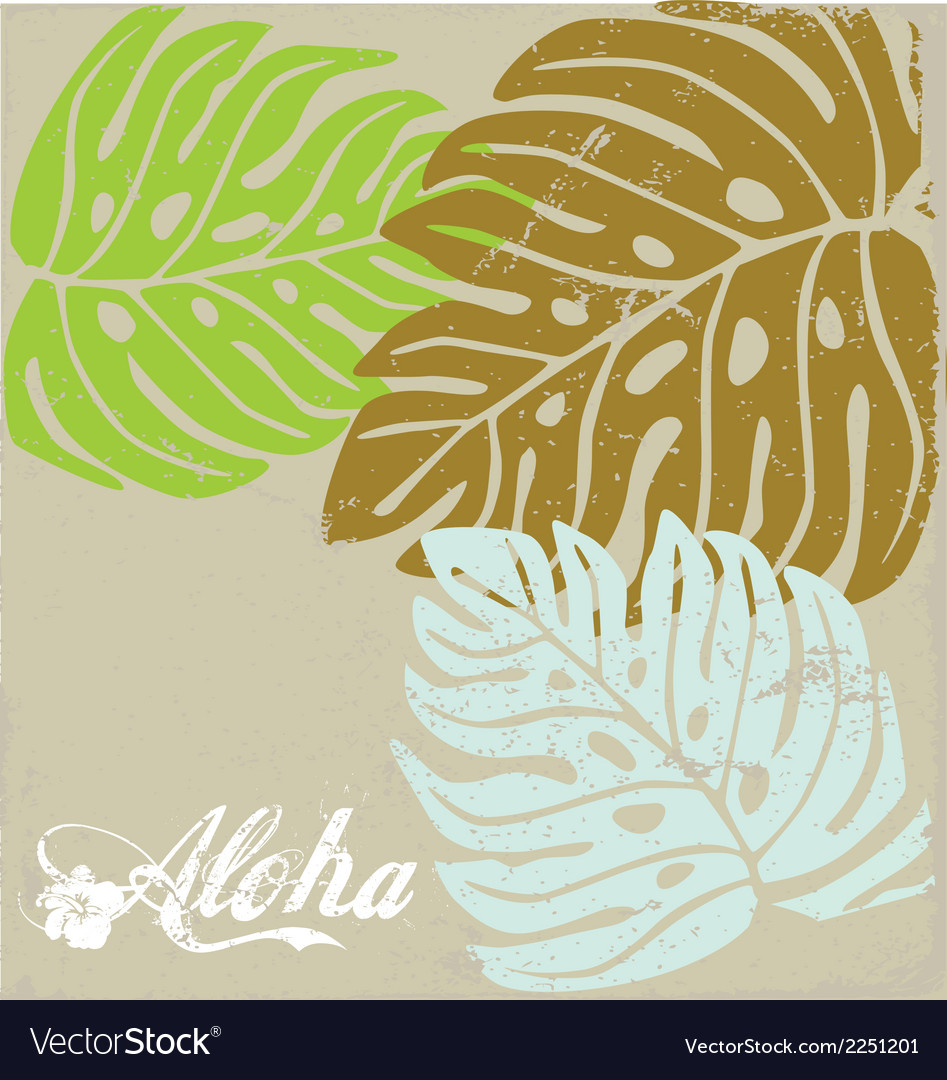 Hawaii text aloha background with hibiscus leave vector | Price: 1 Credit (USD $1)