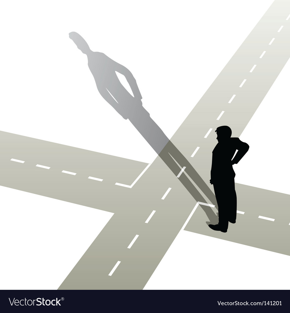 Man at crossroads vector | Price: 1 Credit (USD $1)