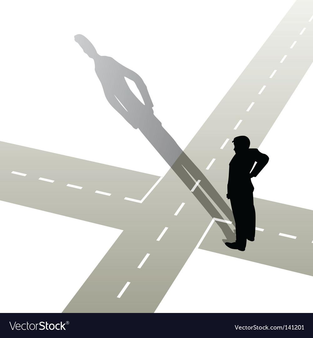 Man at crossroads vector | Price: 1 Credit (USD $1)