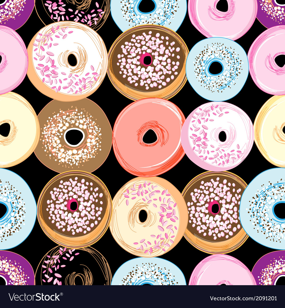 Pattern delicious donuts vector | Price: 1 Credit (USD $1)