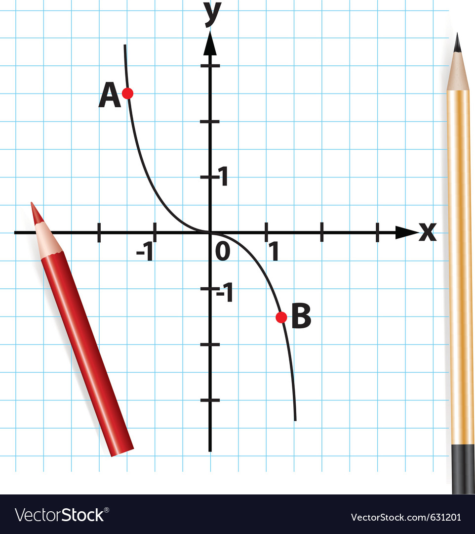 Pencils and mathematical function graph vector | Price: 1 Credit (USD $1)