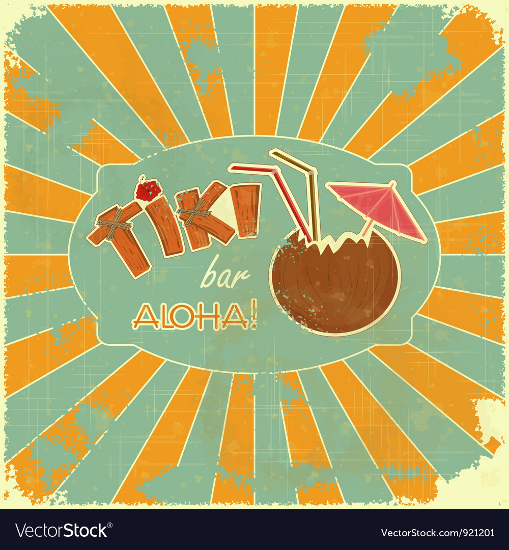 Retro design tiki bar menu vector | Price: 1 Credit (USD $1)