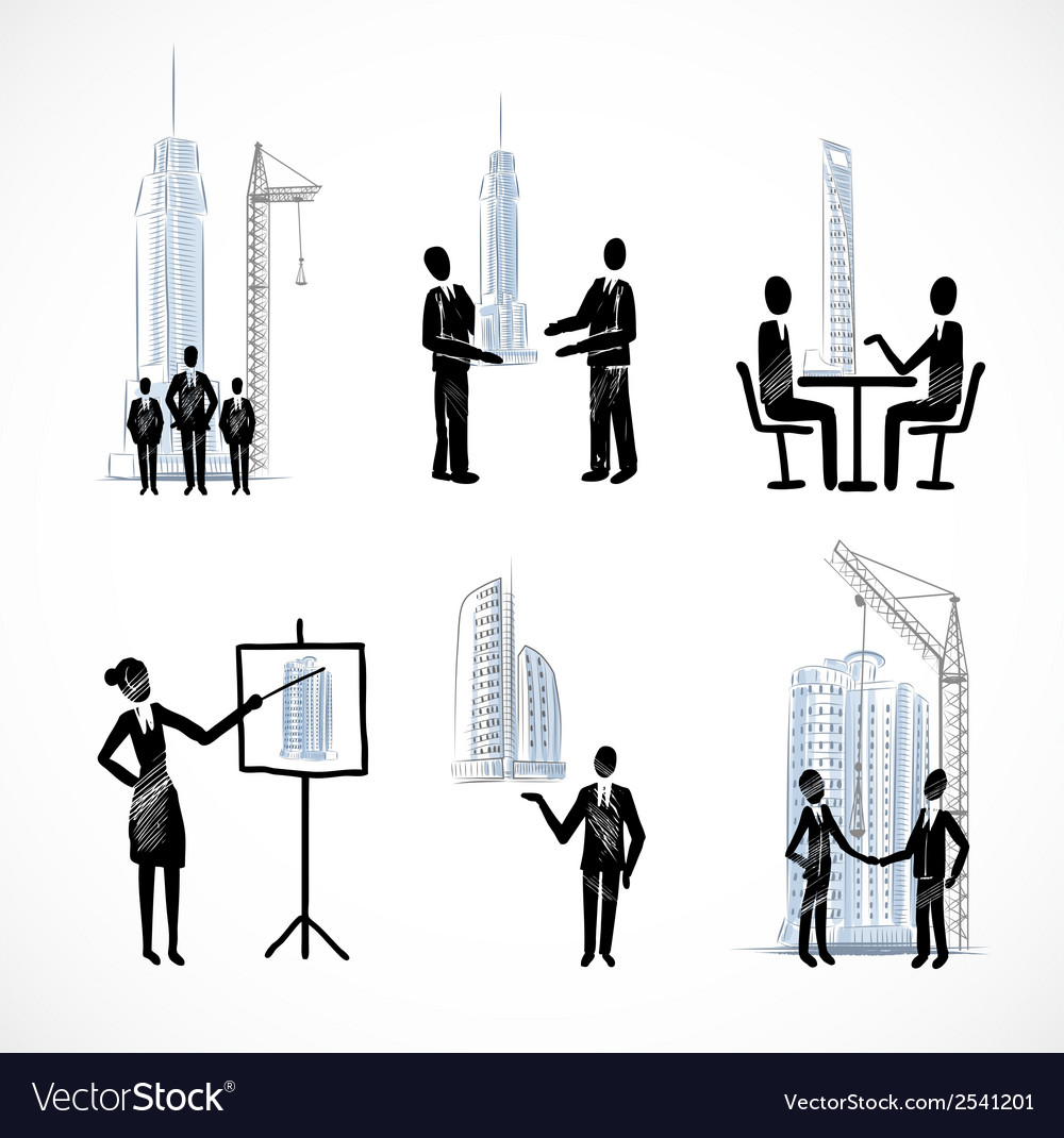 Set of the business people with buildings vector | Price: 1 Credit (USD $1)