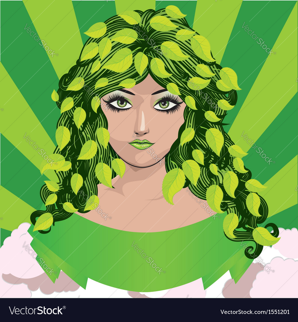 Spring girl with green leaves vector   Price: 1 Credit (USD $1)