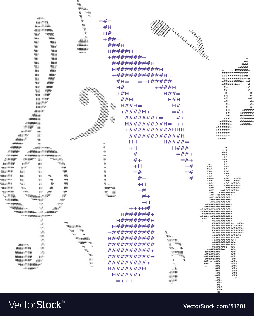 Text music note vector | Price: 1 Credit (USD $1)