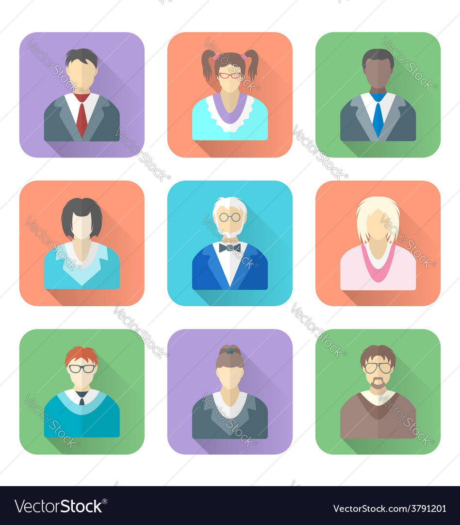 Various flat design people in glasses icons set vector | Price: 1 Credit (USD $1)