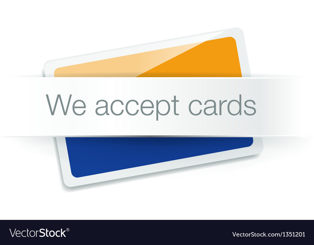 We accept cards - credit card isolated on white vector   Price: 1 Credit (USD $1)
