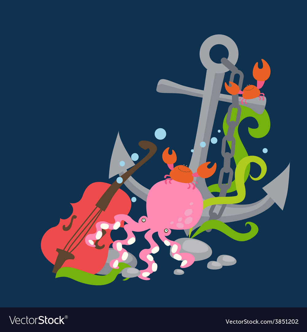 Anchor with pink octopus musiciant vector | Price: 1 Credit (USD $1)