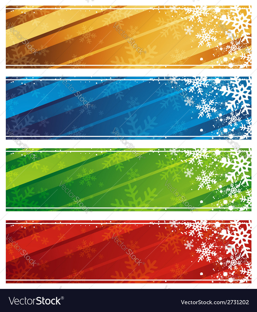 Color christmas banners with snowflakes vector | Price: 1 Credit (USD $1)
