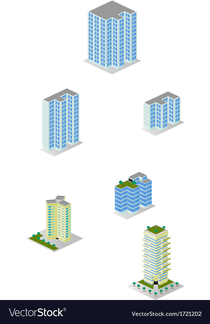 Isometric city apartment buildings pack vector | Price: 1 Credit (USD $1)