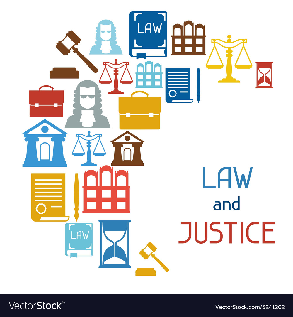 Law and justice icons background in flat design vector | Price: 1 Credit (USD $1)