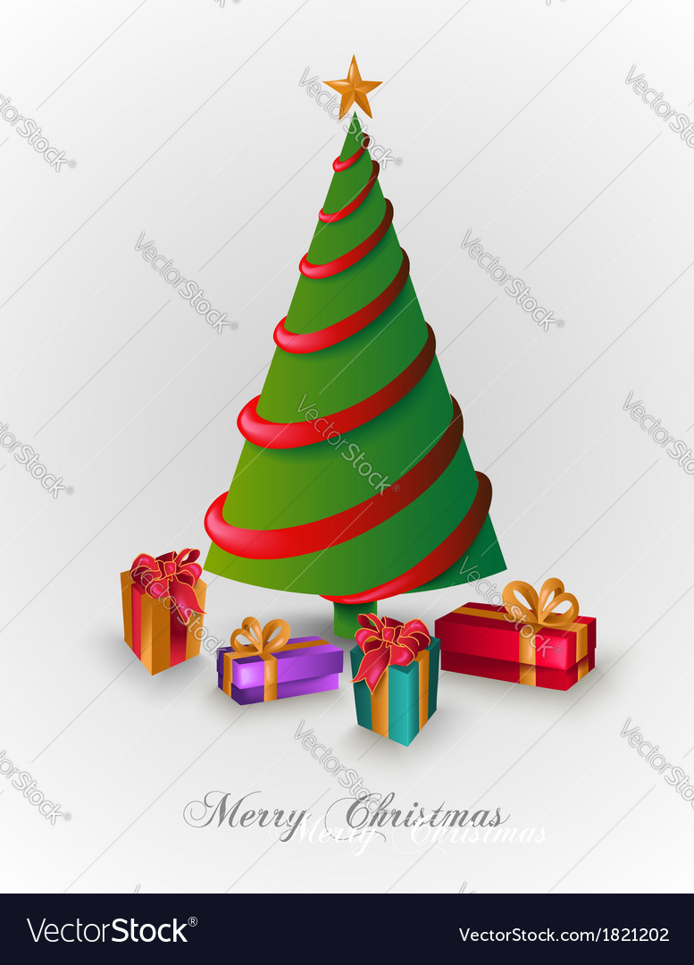 Merry christmas tree with presents eps10 file vector | Price: 1 Credit (USD $1)