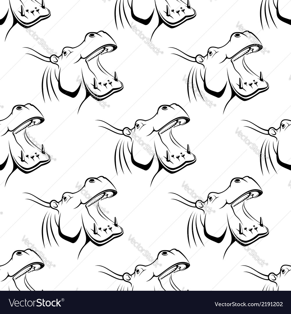 Seamless pattern of a hippo with an open mouth vector | Price: 1 Credit (USD $1)