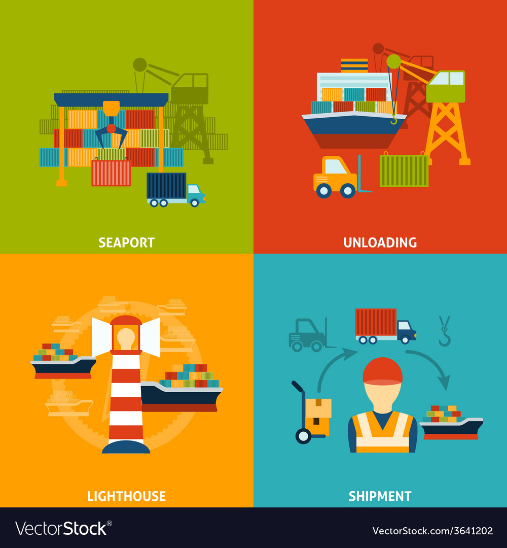 Seaport flat set vector | Price: 1 Credit (USD $1)