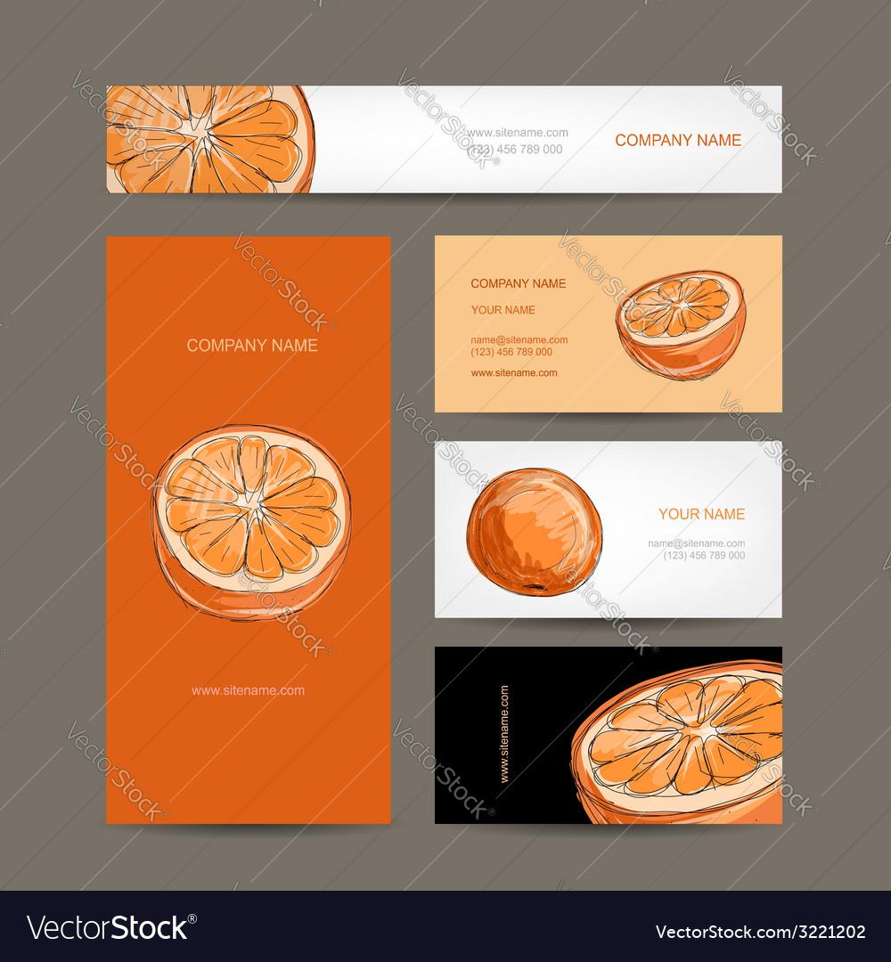 Set of business cards design orange sketch vector | Price: 1 Credit (USD $1)
